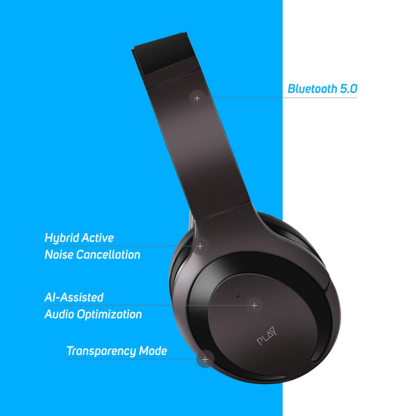 PLAYGO BH70 AI Based Headphones with Hybrid Active Noise Cancellation