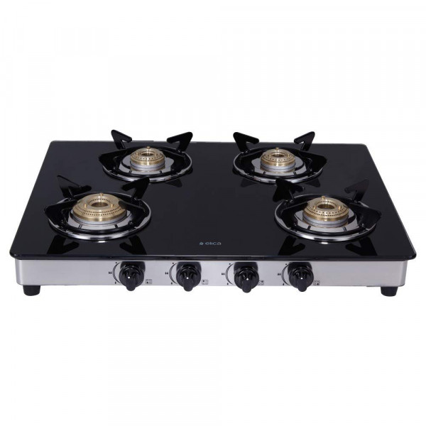 694 CT VETRO DT SERIES - GLASS TOP+SS 4B - DOUBE DRIP - GAS STOVE - ELICA